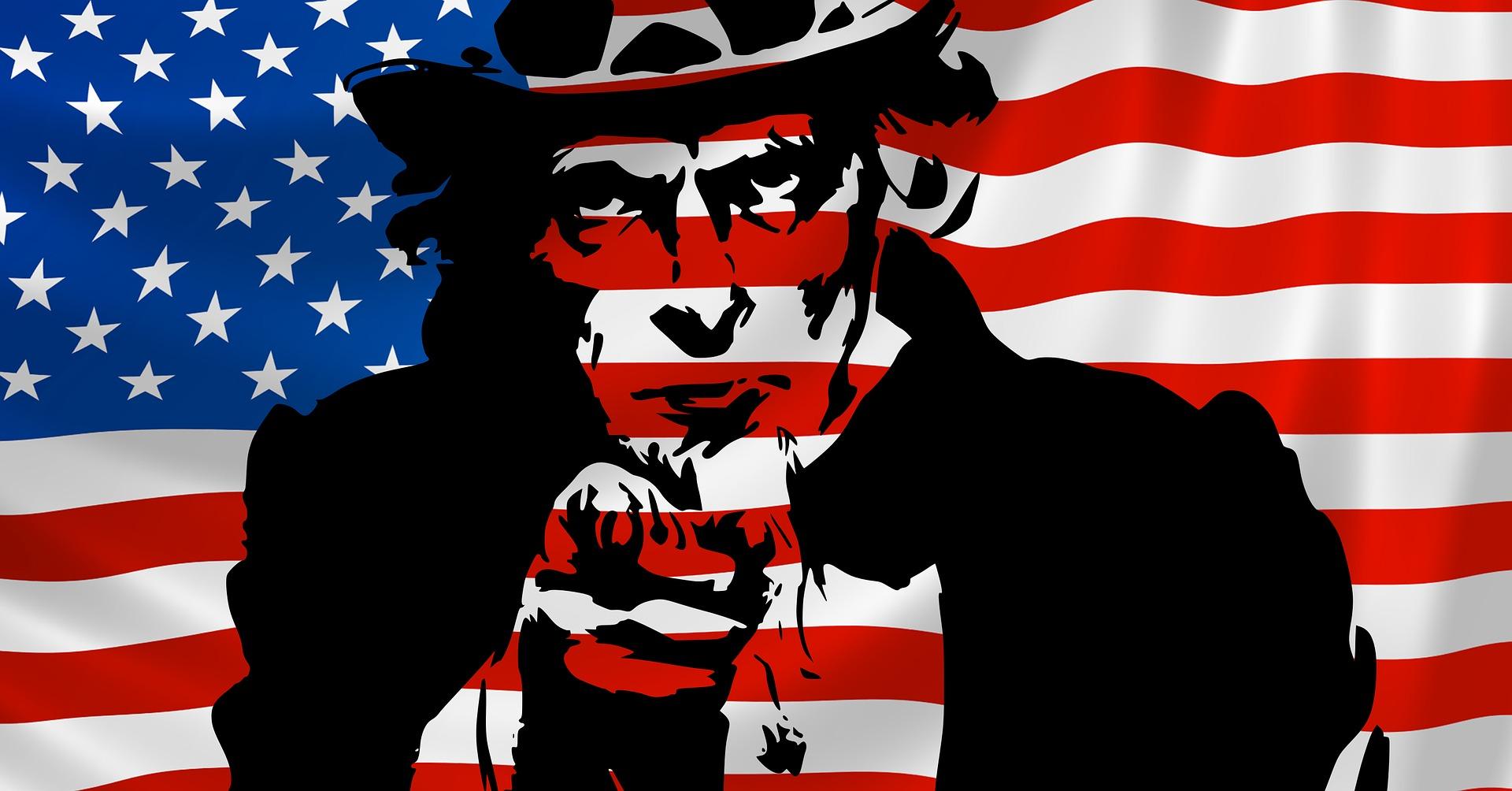 uncle sam outline over american flag background