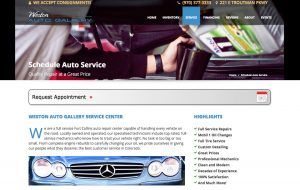 screenshot of westonautogallery.com auto service page