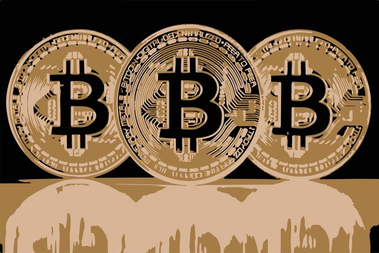 3 bitcoin coins in sepia color artistic