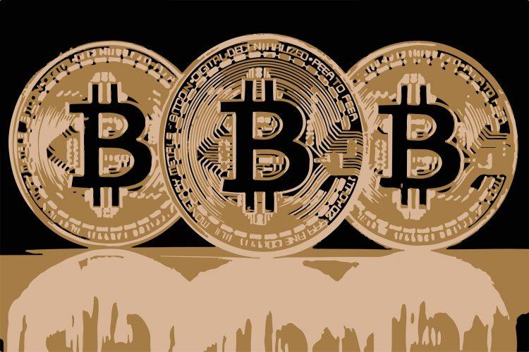 3 bitcoin coins in sepia color artistic