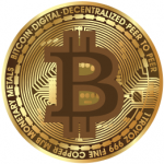 stock image of gold bitcoin artistic rendering